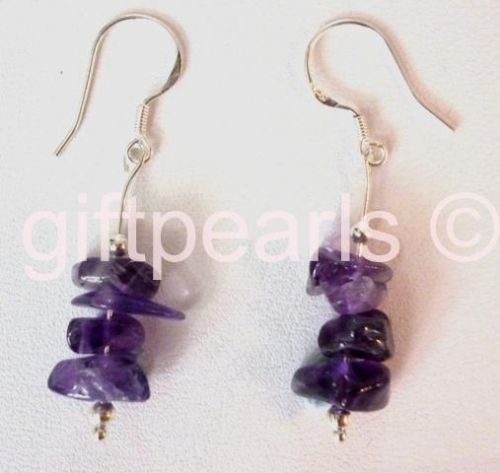 Amethyst drop ear-rings in the 'Wave' design.